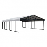 Arrow Galvanized Steel Carport in Eggshell - 20' x 29' x 7'