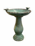 Antique Ceramic Birdbath with 2 Birds -Turquoise