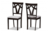 Grey Fabric Upholstered and Dark Brown Finished Dining Chair -Set of 2