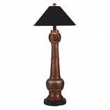 Phoenix Copper Outdoor Floor Lamp with Black Sunbrella Shade