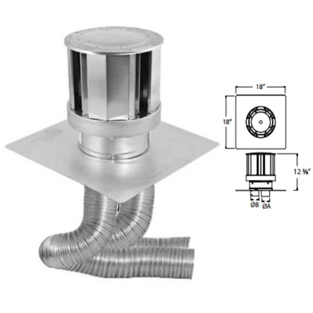 SD 4inx6-5/8in DV CoLinear Masonry Chimney Conversion Kit (Includes two 3in dia x 25ft Flex liners and High Wind Cap)