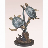 "SPI Home 31541 Brass Sea Turtle Duet with Seagrass Garden Sculpture - 14.5""H"
