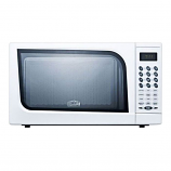 Mid-sized microwave oven with a fully white finish