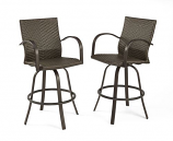 Naples Leather Finish All-Weather Wicker Swivel Barstools