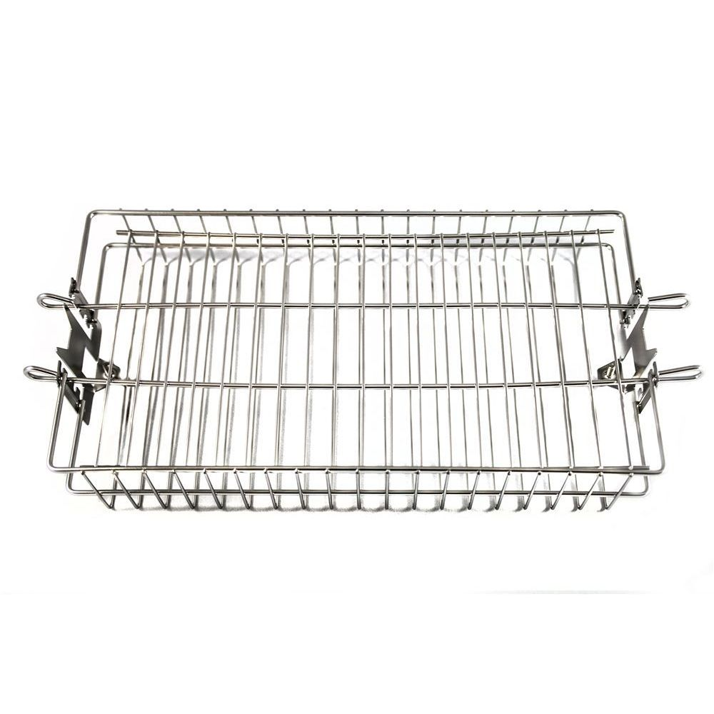 """OneGrill 4PB20 Stainless Rotisserie Spit Rod Flat Basket -5/16""""Sq 3/8""""Sq 1/2""""Hex"""