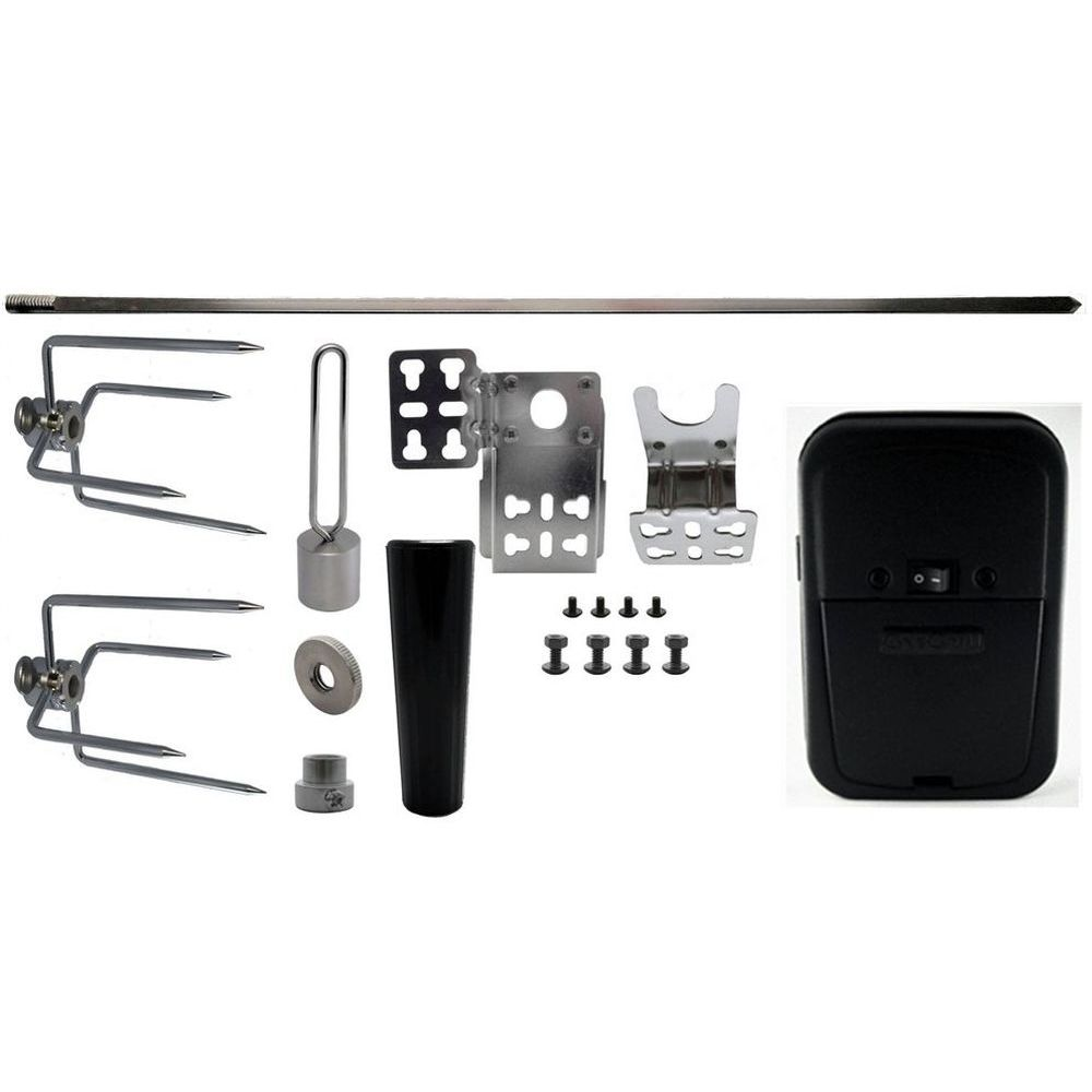 """OneGrill 4PS59 Universal Grill Rotisserie Kit Black Cordless Motor - 45""""x5/16"""""""