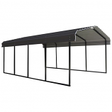 Steel Carport 12 x 20 x 7 ft. Galvanized Black/Charcoal