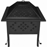 "Buck Stove 18"" Square Diamond Pattern Fire Pit - Black"