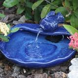 Ceramic Solar Koi Fountain - Blue Glazed
