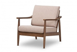Modern Walnut Wood Light Brown Fabric Upholstered Lounge Chair