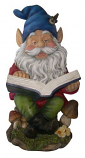 Gnome Reading Book Statuary By Alpine