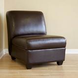 Baxton Studio Dark Brown Armless Club Chair