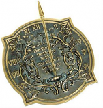 Rome Happiness Sundial - Solid Brass with Verdigris Highlights