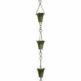 Verdigris Fluted Cup Rain Chain -4.25