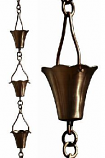 Antique Copper Fluted Cup Rain Chain-8.5' Full Length