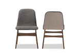 Dark Grey Fabric Upholstered Walnut Wood Finishing Dining Chair-2 Set
