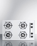 "Summit 30"" Gas Cooktop with Four Burners & Battery Ignition - White"
