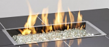 """12""""x 24"""" Rectangular Stainless Steel Gas Burner with Glass Fire Gems"""