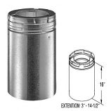 "Galvanized 16"" Chimney Pipe Extension - 5"" x 8"""