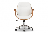 Rathburn Modern and Contemporary White and Walnut Office Chair