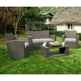 Delano 4-Piece Patio Conversation Sofa Set with Cushions, Gray