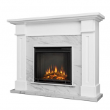 White Kipling Electric Fireplace w/ Faux Marble Surround