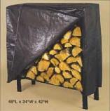 Black poly cover for 45'' log rack