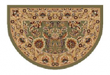 46'' x 31'' Green & Taupe Kashan Hearth Rug