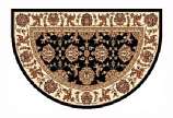 46'' x 31'' Black & Ivory Kashan Hearth Rug