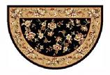 46'' x 31'' Black & Beige Floral Kashan Hearth Rug