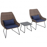 Montauk 3-Piece Wicker Scoop Chat Set with Navy Cushions