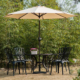 Aluminum Patio Table Umbrella with Push Button Tilt & Crank, Beige