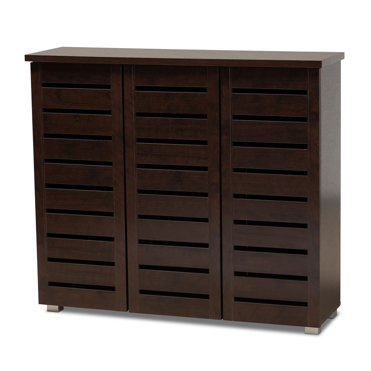 Baxton Studio Adalwin 3-Door Dark Brown Entryway Shoes Storage Cabinet