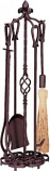 5 Piece Bronze Finish Tool Set with Horseshoe Handles