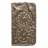 American Crafted Cardinal Combo Clock And Thermometer - French Bronze