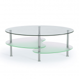 Ryan Rove RR1066 Fenton 38in Oval Two Tier Glass Coffee Table