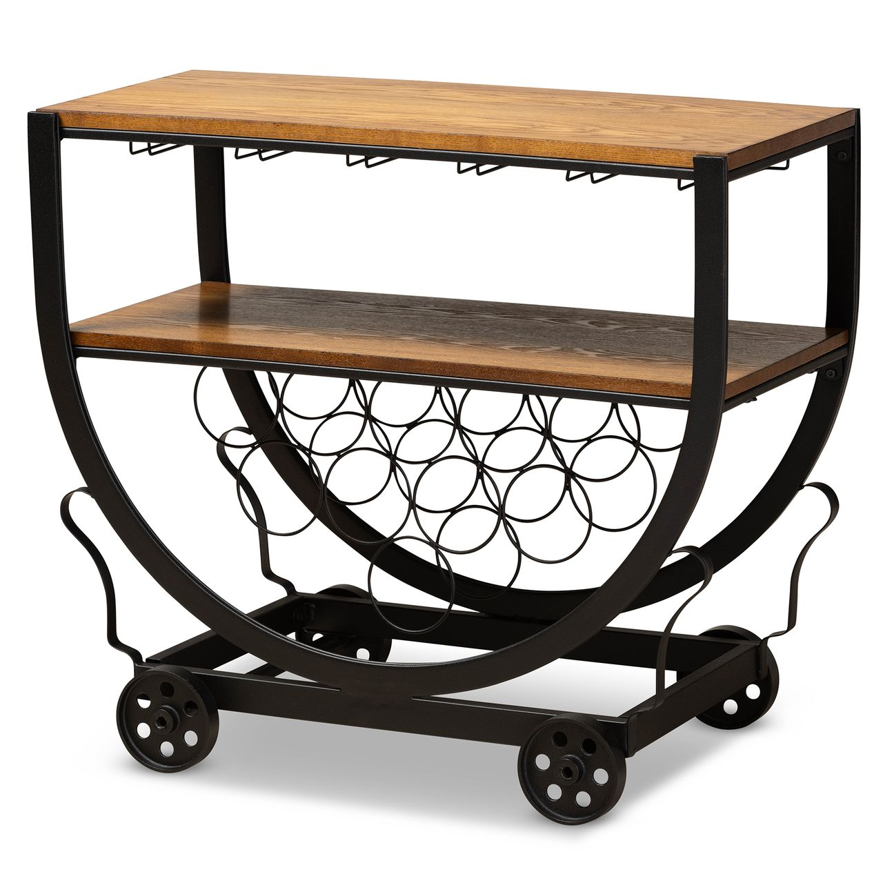 Baxton Studio Triesta Metal And Wood Wheeled Wine Rack Cart