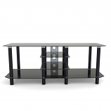 Ryan Rove RR1004 Salerno 60in Glass & Metal TV Stand in Black