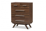 Auburn Mid-Century Modern Walnut Brown Finished Wood 5-Drawer Chest