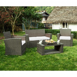Delano 4-Piece Patio Conversation Sofa Set with Cushions, White