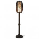 "Bristol 70"" Bronze Tube Floor Lamp with Walnut Wicker Barrel Shade"