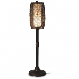 "Bristol 58"" Bronze Tube Floor Lamp with Walnut Wicker Barrel Shade"