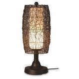 "Bristol 30"" Bronze Tube Table Lamp with Walnut Wicker Barrel Shade"