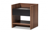 Contemporary Two-Tone Walnut and Black Wood 1-Drawer Nightstand