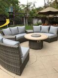 Patio Resort Bermuda Platinum Circular Sofa Set - Canvas Spa
