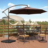 Cantilever Hanging Patio Umbrella with Cross Base & Crank, Coffee