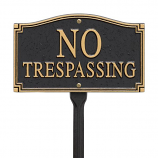 American Crafted No Trespassing Statement Wall Plaque - Black/Gold