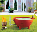 Round Fire Burning Portable Outdoor Hot Tub, Red Wine
