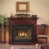 32-Inch DV Gas Fireplace with Blower in Cherry Mantel, IP Control, NG