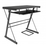Ryan Rove RR1052 Becker Metal and Glass Computer Desk in Black